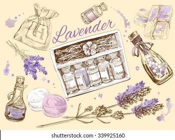 Lavender natural cosmetic set. Vector illustration