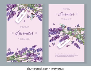 Lavender natural cosmetics banners on lilac background. Design for cosmetics, store, beauty salon, natural and organic products, health care products,aromatherapy.Vector illustration