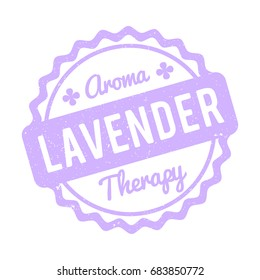 Lavender rubber stamp lilac on a white background.