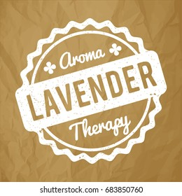 Lavender rubber stamp white on a crumpled paper brown background.