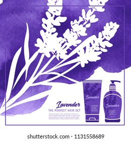 Lavender shampoo hair care template vector illustration