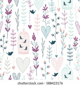 Lavender vector seamless floral pattern with hearts