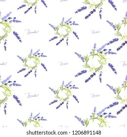 Lavender wreath seamless pattern with hand lettering. Floral vector watercolor vintage flower sketch. Botanical colorful illustration on white background.