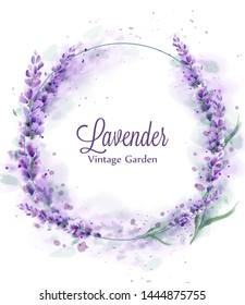 Lavender wreath Vector watercolor splash. Delicate floral bouquet frame. Spring summer banner template