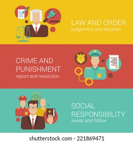 Law attorney lawyer court judge sheriff policeman religion bible social responsibility flat web banner infographics vector illustration template collection