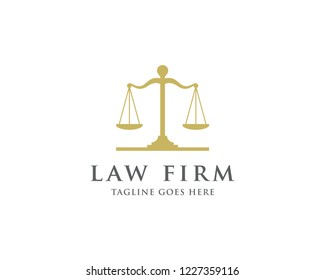 Law And Attorney Logo Design Template. Scale of Justice Symbol.