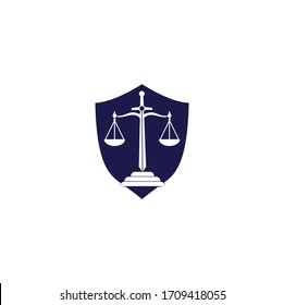 Law and Attorney shield shape concept Logo Design. Law firm and office vector logo design. justice law and attorney logo design template