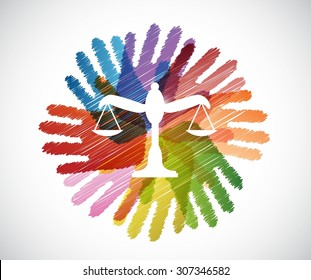 law balance over diversity hands circle illustration design concept