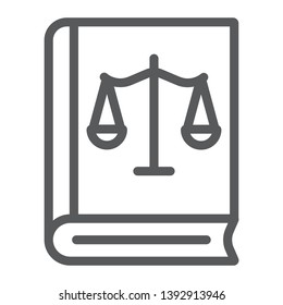Law book line icon, justice and law, book with libra sign, vector graphics, a linear pattern on a white background, eps 10.