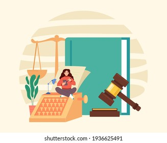 Law book scale document gavel government authority judgment justice concept. Vector graphic modern style design illustration