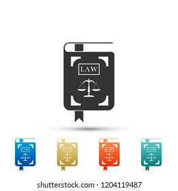 Law book statute book with scales of justice icon isolated on white background. Set elements in colored icons. Flat design. Vector Illustration