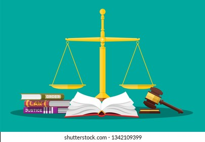 Law code books, justice scales and judge gavel. Law judgment punishment order justice. Wooden hammer. Legal and legislation authority. Vector illustration in flat style