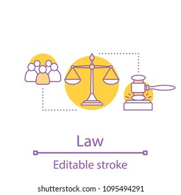 Law concept icon. Jury trial. Justice, jurisdiction idea thin line illustration. Gavel, scales of justice. Vector isolated outline drawing. Editable stroke