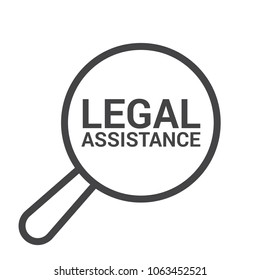 Law Concept, Magnifying Optical Glass With Words Legal Assistance. Vector illustration