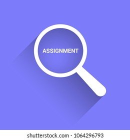 Law Concept: Magnifying Optical Glass With Words Assignment. Vector illustration