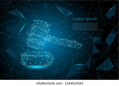 Law concept with polygonal gavel judge vector illustration