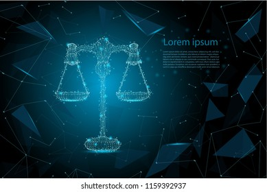 Law concept with polygonal scale vector illustration