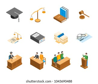 Law Court 3d Icons Set Isometric View Include of Lawyer, Handcuff, Scale and Document. Vector illustration of Icon