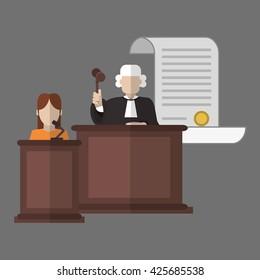 Law design. Justice icon. Grey background, vector illustration