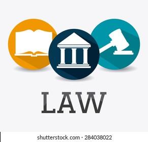 Law design over white background, vector illustration.