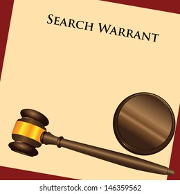 The law enforcement system - a search warrant - a court order. Vector illustration.