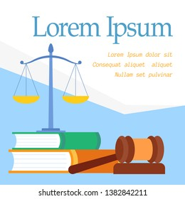 Law Faculty Educational Program Vector Web Banner. Lawyer School, Bachelor, Master Degree Poster with Text Space. Common, Administrative Law Course Flat Illustration. Justice Department