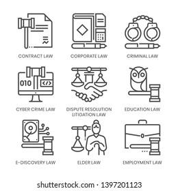 Law fields related, square line vector icon set for applications and website development. The icon set is pixelperfect with 64x64 grid. Crafted with precision and eye for quality.