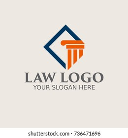 Law firm, attorney, lawyer service logo, template full vector
