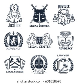 Law firm heraldic shield symbol set. Lawyer office emblem with scales of justice, crossed judge gavel and sword, law book and lion, framed by laurel wreath. Legal services center and advocacy design