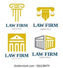 LAW FIRM JUDGE LOGO ICON TEMPLATE SET