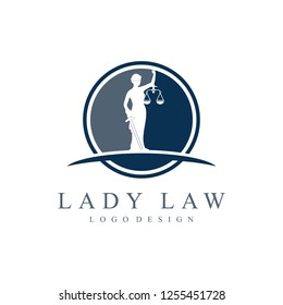 Law Firm Lady Justice Femida Logo Design. Lady Lawyer With Feather Design Logotype, Isolated on a White Background.