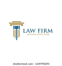 law firm legal logo icon with hammer vector template