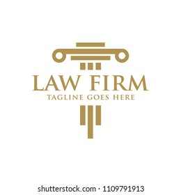 law firm legal with pillar logo icon vector template