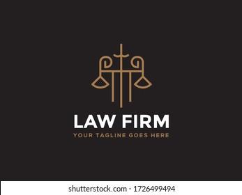 Law firm line trend logo icon vector design. Universal legal, lawyer, scales sword column idea creative premium symbol.