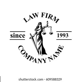 Law firm logo with Femida. Vector law firm logotype or badge.