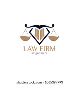 Law firm logo icon design template. Lawyer office vector illustration