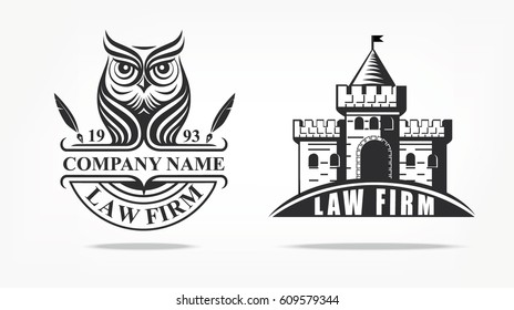 Law firm logo with owl and castle. Vector logo badge. Castle logotype or black and white silhouette.