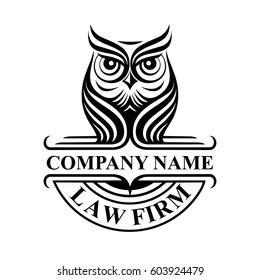 Law firm logotype with owl. Vector logo badge.