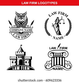 Law firm logotypes with Goddess of justice Femida, column, owl and castle. Vector logo set or law firm.