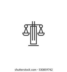 Law Firm Outline Vector Logo Design Template