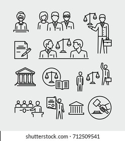 Law firm vector icons set