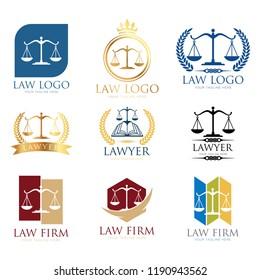 Law Frm Logo Set. Lawyer logo design templates. Law office logo set.