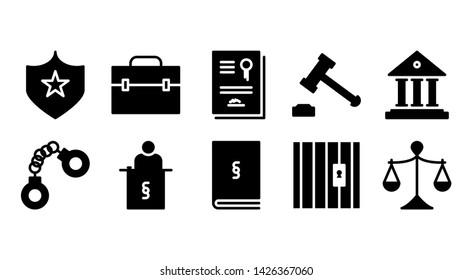 law glyph icon symbol set