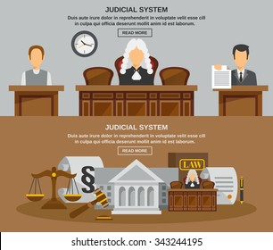 Law horizontal banner set with judical system elements isolated vector illustration