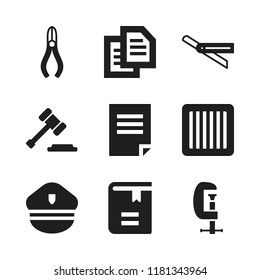 law icon. 9 law vector icons set. document, book and jail icons for web and design about law theme