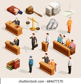 Law icon isometric set of isolated public justice symbols balance gavel wristbands judge and jury characters vector illustration