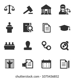 Law icon, monochrome icons set. justice, simple symbols collection