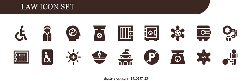 law icon set. 18 filled law icons.  Simple modern icons about  - Disability, Policeman, Balance, Scale, Jail, Safebox, Sheriff, Handcuffs, Wheelchairs, Police, Government, No parking