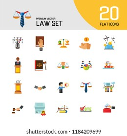 Law Icon Set. Copyright Hand With Gavel Scales Law Concept Scales With Cup And Shield Corruption Civil Rights Business Law Piggy Bank Lawyer Sign Law Shield Justice Patenting