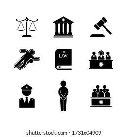 Law icon set. Court icon set. Logo vector.